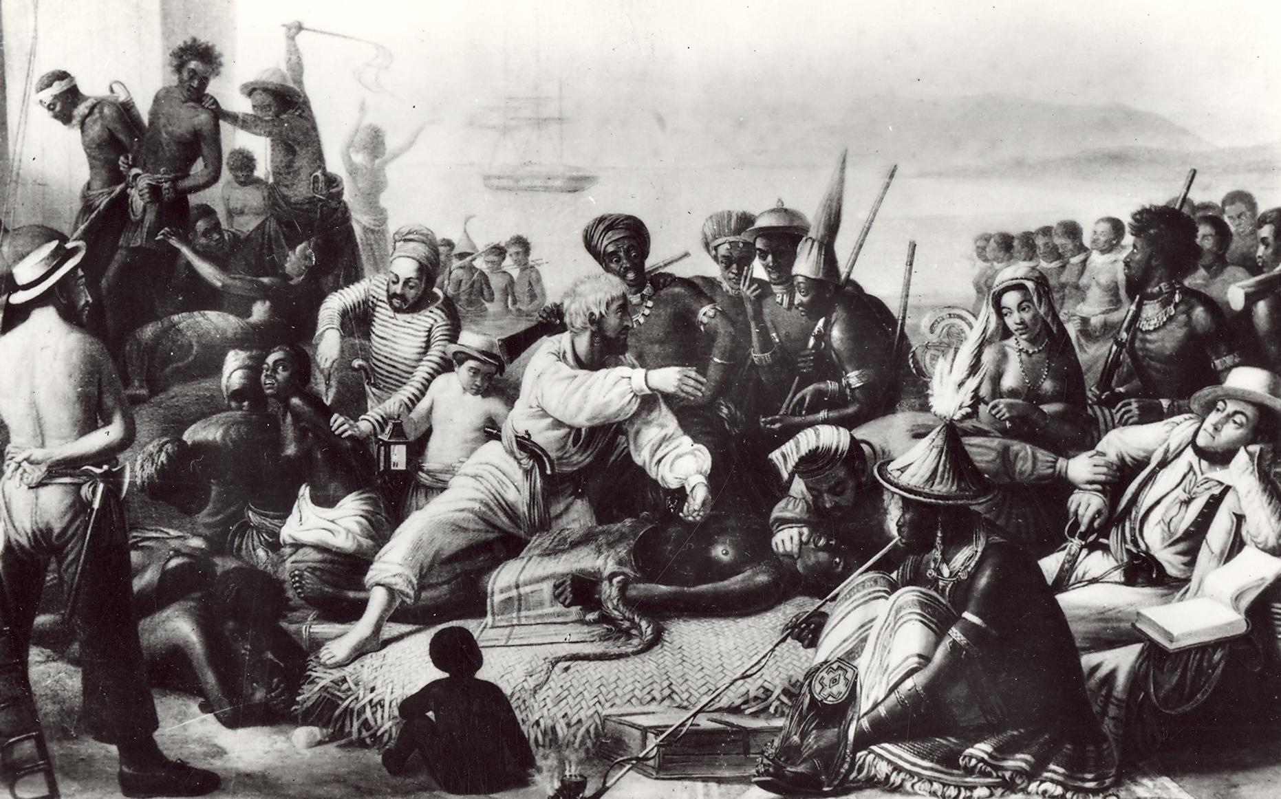 Slavemarked. Efter maleri af A.F. Biard: The Slave Market on the African coast.